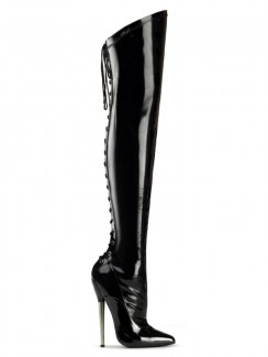 8c97ca79 Pleaser - DAGGER-3060 Solid Brass Heel Back Lace Up Thigh Boot