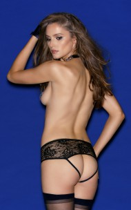 Hauty - 1408 Pleather And Lace Crotchless Tanga
